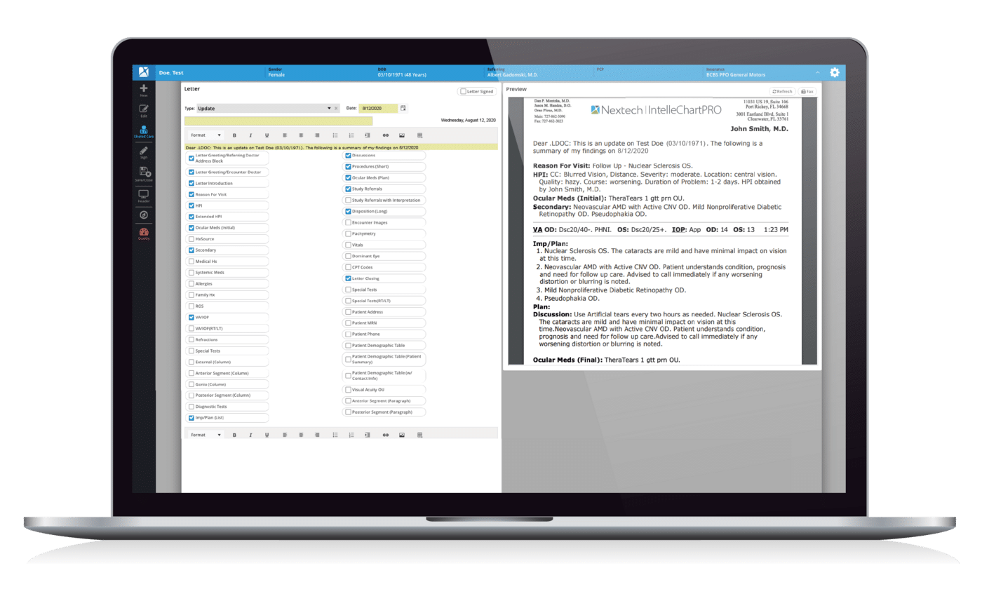 Ophthalmology EHR Automatic Letter Generation